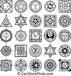 alkemi, sätta, magi, sigils, vectors
