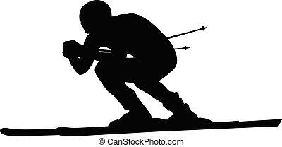 alpin, atlet, skida downhill, skidåkare