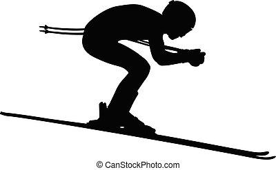 alpin, män, skidåkning
