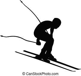 alpin, män, skidåkning nedåt