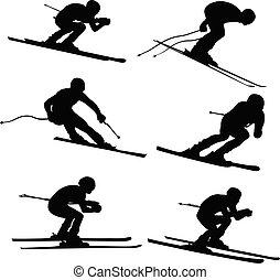 alpin, sätta, skidåkning