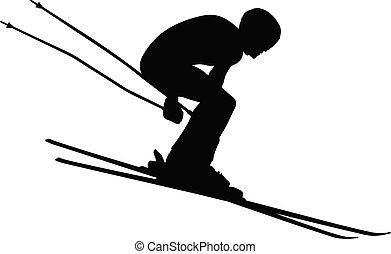 alpin, sport, vinter, skidåkning
