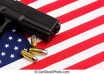 amerikan flagga, över, gevär