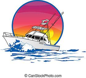 amigo, sportfisher, båt
