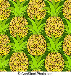 ananas, illustration., pattern., seamless, tropisk, bakgrund., vektor