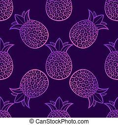 ananas, pattern., seamless, tropisk, bakgrund., vektor, svart
