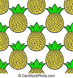 ananas, pattern., seamless, tropisk, bakgrund., vektor, vit