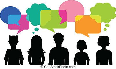 anförande, bubblar, silhuett, ungdomar
