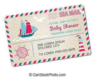 ankomst, vykort, -, skur, tema, vektor, hav, nautisk, baby, eller