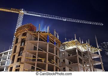 anläggande konstruktion, plats, natt