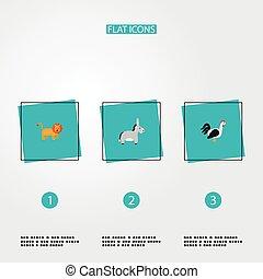 annat, design., nät, mobil, app, stil, symboler, din, djur, lejon, sätta, logo, tupp, ikonen, lägenhet, åsna