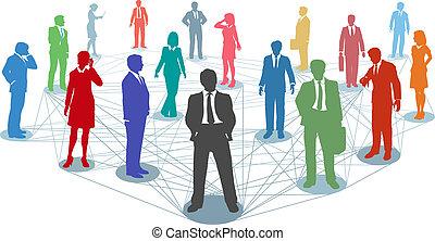 anslutningar, folk, nätverk, affär, koppla samman