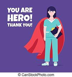 anställd, mot, slåss, sköta, kvinnlig, sjukhus, ung, medicinsk, bak, hjälte, sjukdomar, udde