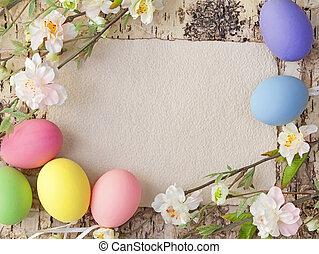 anteckna, ägg, påsk, tom