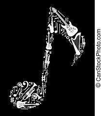 anteckna, instrument, form, musik