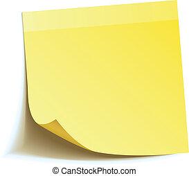anteckna, käpp, gul