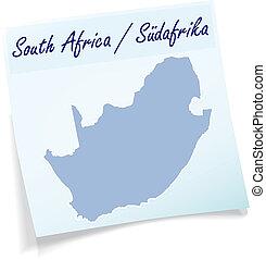 anteckna, karta, afrika, syd, klibbig