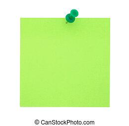 anteckna, trycka, papper, grön, stift