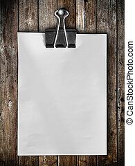 anteckna, ved, hänga, papper, panel