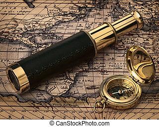 antikvitet, årgång, klocka, karta