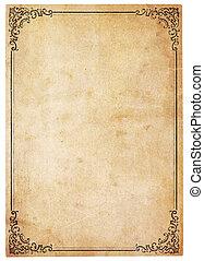 antikvitet, årgång, papper, gräns, tom