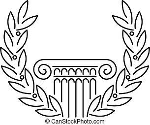 antikvitet, grek, kolonn, lager