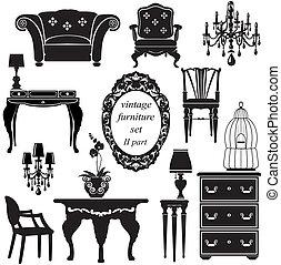 antikvitet, sätta, -, isolerat, silhouettes, svart, möblemang