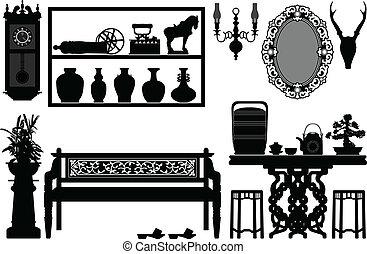 antikvitet, traditionell, gammal, möblemang
