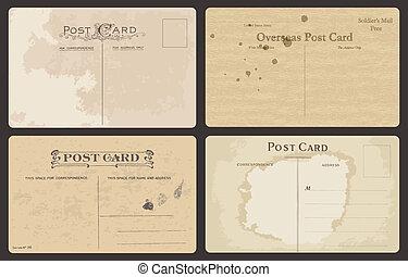 antikvitet, vykort, sätta, vektor
