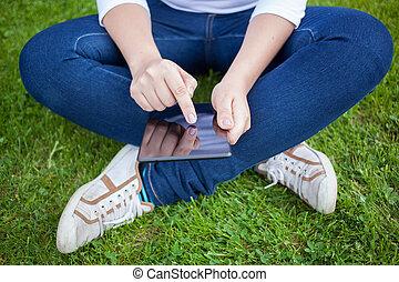 användande, kvinna, digital tablet, pc