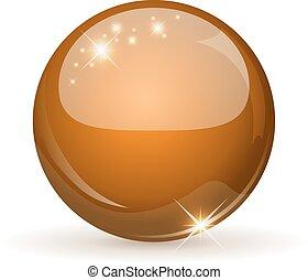 apelsin, glob, isolerat, white., glatt