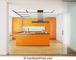 apelsin, kök, inre, nymodig