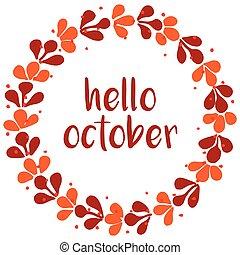 apelsin, kort, krans, oktober, hej