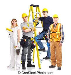 arbetare, folk, industriell