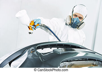 arbetare, målning, bil, bil stötfångare