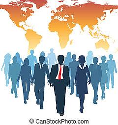 arbete, affärsfolk, global, mänsklig, lag, resurser