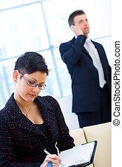 arbete, businesspeople, kontor