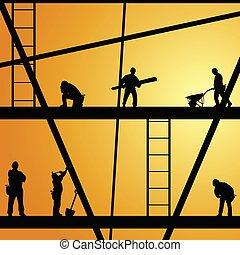 arbete, konstruktion, vektor, arbetare, illustration