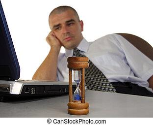 arbetsdag, sent, en annan, avsluta