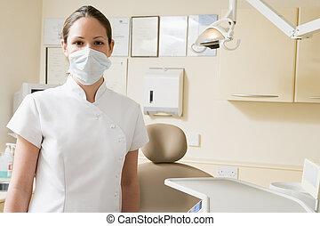 assistent, dental, maskera, rum, examen