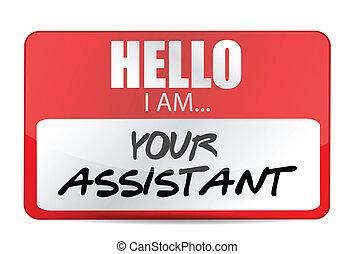 assistent, etikett, namn, illustration, din