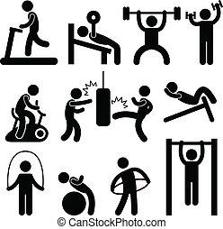 atletisk, gymnastiksal, gymnastiksal, övning