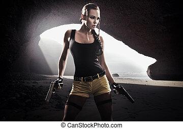 atletisk, kvinna, ung, gevär