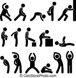 atletisk, spänning, övning, folk