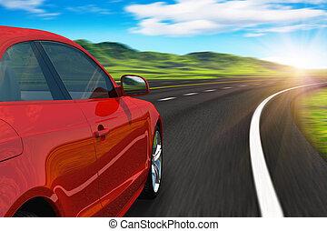 autobahn, bil, röd, drivande