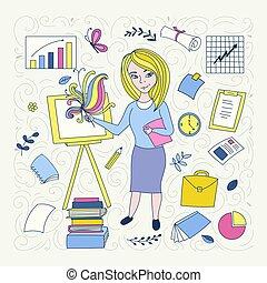 avsluta, developer., concept., yrke, illustration, handdrawn, främre del