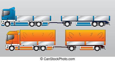 axel, lastbil, släpvagnen, två, tre