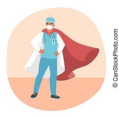 bära maskera, läkare, illustration., medicinsk, kappa, lägenhet, ansikte, vektor, röd, hjälte, toppen