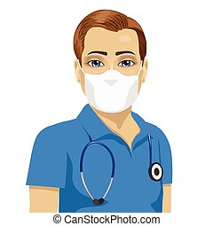 bära maskera, ung, kirurgisk, sköta, manlig, antiviral