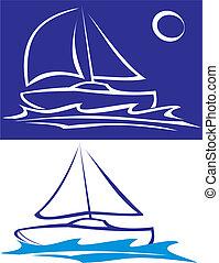 båt, -, hav, segla